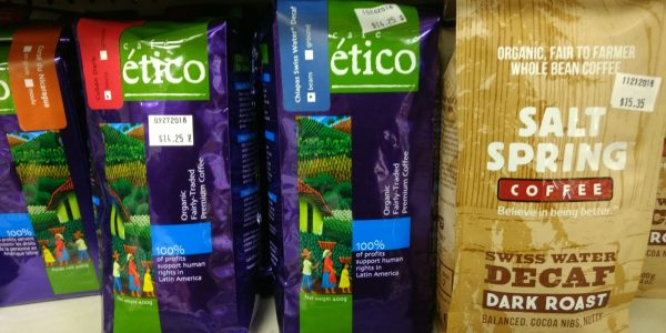 Organic & fair-trade coffee (Etico and Salt Spring Coffee)
