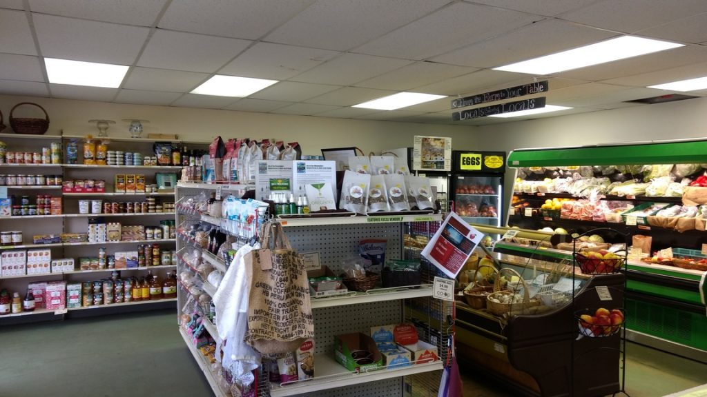 Inside the Monashee Community Co-op store, showcasing the grocery and product section.